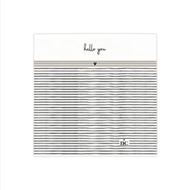 Servetten Stripes 'Hello You' | Small | 20 stuks | Wit/Zwart/Titane | Bastion Collections