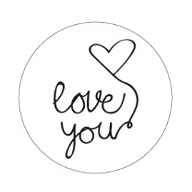 "Stickers ""Love You"" Wit/Zwart Set 10"