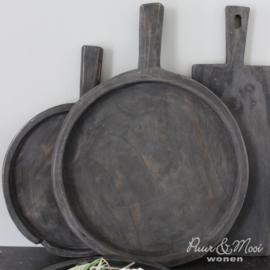 Houten Schaal met Handvat | Ø:35 cm | Grey