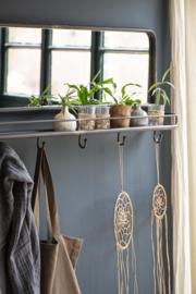 Spiegel met Plank  & 6 Haken   Zwart Metaal   IB Laursen   Alleen Afhalen