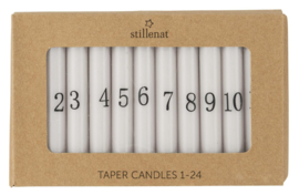 Korte Smalle Kaarsjes Advent 1-24 | Wit/Black |  Ø:1,3 cm | IB Laursen