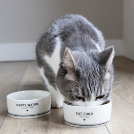 Voerbakje Kat | CAT Food  | Wit/Zwart | Bastion Collections