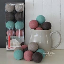 Cotton Ball Lights | Bruin, Zand, Zeegroen, Oudroze | 20