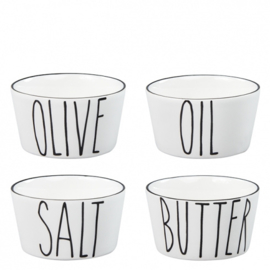Bowl Mini | Set 4 | Salt, Butter,  Oil & Olive | Bastion Collections