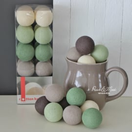 Cotton Ball Lights | Milky Brown/Meadow Green | 20
