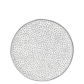 Ontbijt- Dessert Bord | Little Dots | Ø:19 cm | Wit/Zwart | Bastion Collections