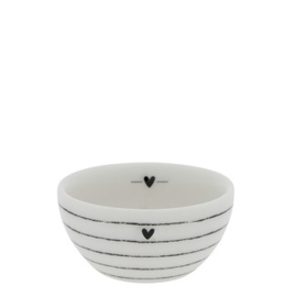 Bowl Mini | Stripes | Ø:6 x 3 cm | Wit/Zwart | Bastion Collections