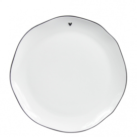 "Breakfast Plate | Wit ""Little ♥"" Zwart 