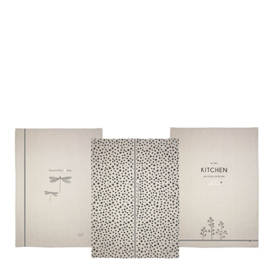 Theedoek | Kitchen & Flowers | Naturel/Zwart | Bastion Collections
