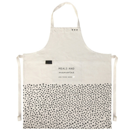 Keukenschort Naturel Dots | Meals and Memories are made here | Bastion Collections