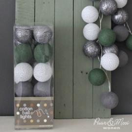 Cotton Ball Lights | Groen - Antraciet Zilver | 20 | Uitverkocht