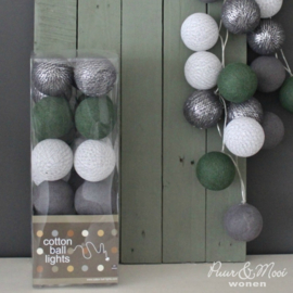 Cotton Ball Lights | Groen - Antraciet Zilver | 20