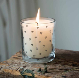 Kaars in Glas | Hearts | Naturel/Zwart | Bastion Collections