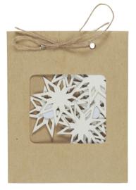 Zakje met 9 stuks Sneeuwsterren Stickers | Wit | IB Laursen