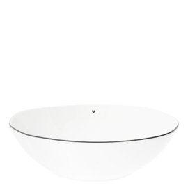 Salade Bowl | met Hartje | Large Ø:27 | Wit/Zwart | Bastion Collections