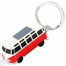 VW T1 Bus | Sleutelhanger met LED Licht | Rood | Uitverkocht