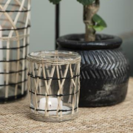 Candle Holder Bamboo Braid | Medium | 9,7 x Ø: 7,3 cm | IB Laursen