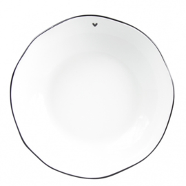 "Soup & Pasta Plate | Wit ""Little ♥"" Zwart 