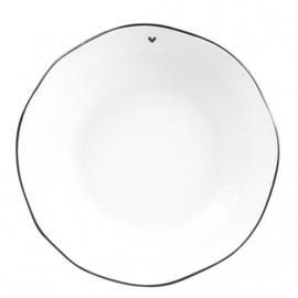 "Soup & Pasta Plate | Wit ""Little ♥"" Zwart | 21x5 cm | Bastion Collections"