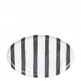 Schaal Ovaal | Stripes | Wit/Zwart | Bastion Collections