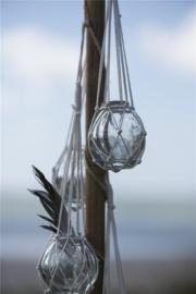 Glazen Bolvaasje   Small   Katoen  Macrame Hanger   Uitverkocht