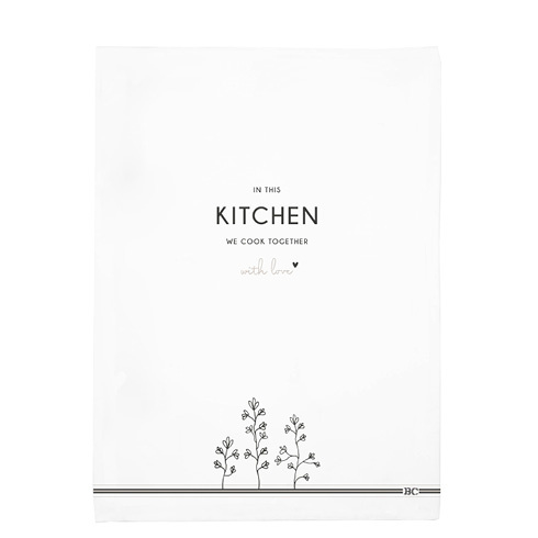 Theedoek | Kitchen & Flowers | Wit/Zwart | Bastion Collections