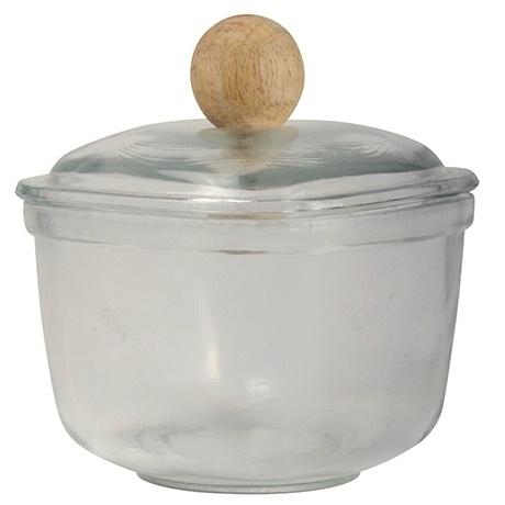 Glazen Potje met houten Knop Medium