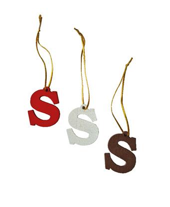 Sinterklaas S hanger | Set 4 stuks |  Wit, Bruin, Rood & Goud