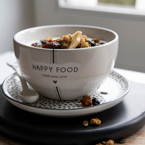 Kom   Happy Food   Wit/Zwart   Bastion Collections