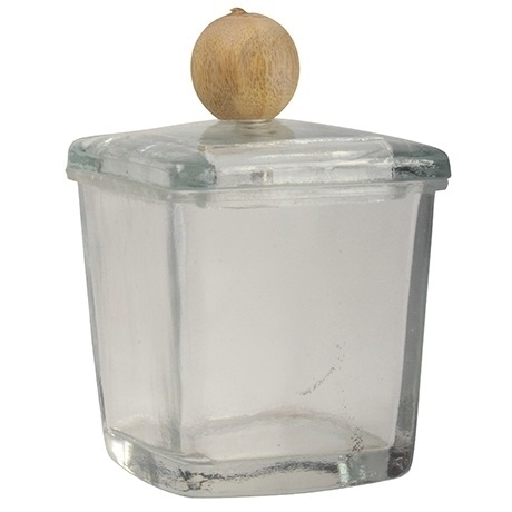 Glazen Potje met houten Knop Small