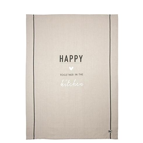 Theedoek | Happy | Naturel/Zwart | Bastion Collections