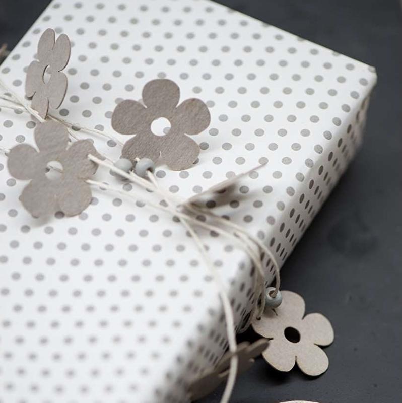 Decoratiekoord met Papieren Bloemen en Kralen Grijs