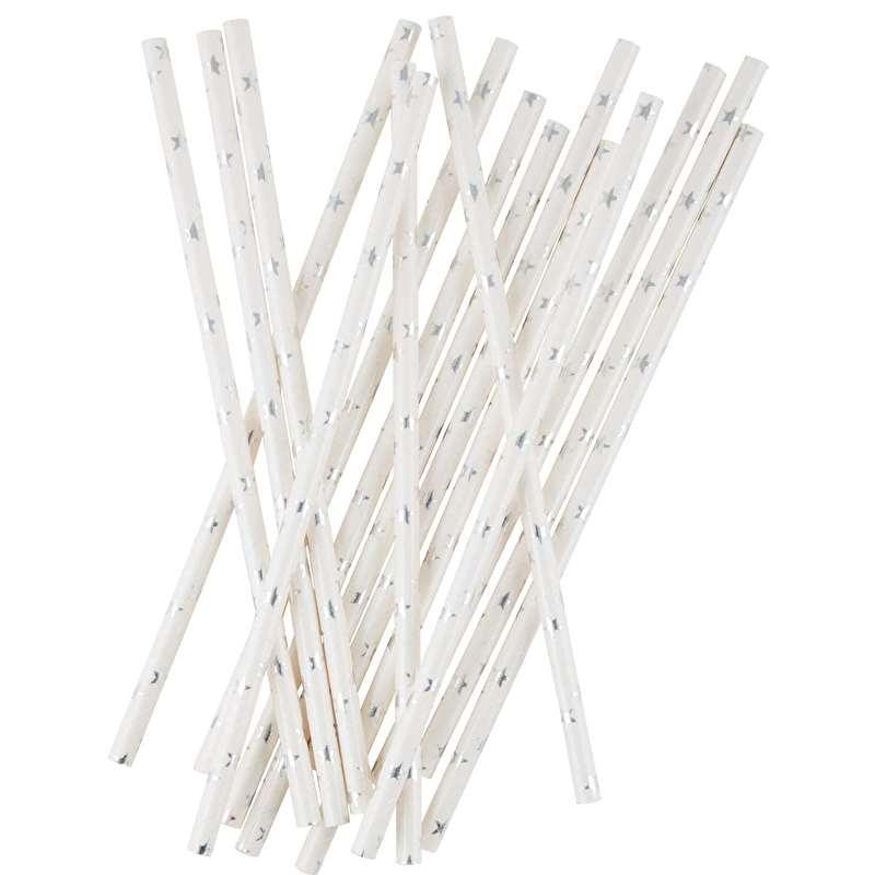 Rietjes Papier Wit met Zilveren Sterren set/12 Ib Laursen