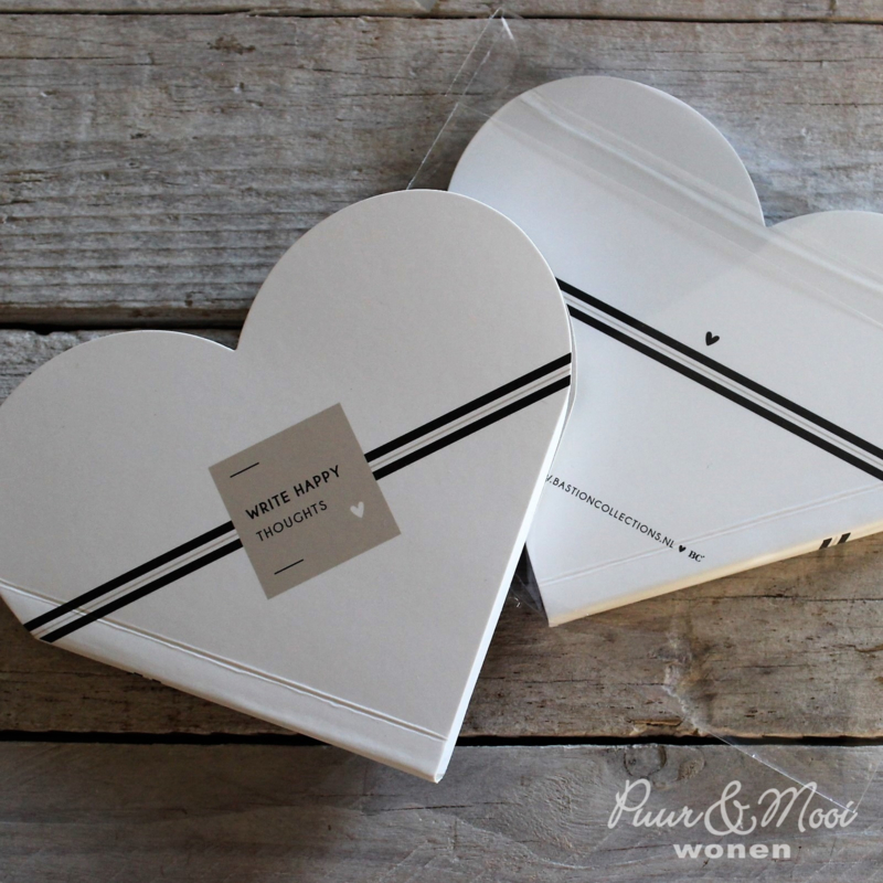 Notitieboekje Hart   Stripe   Happy Toughts   Bastion Collections