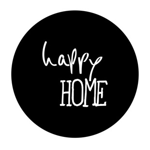 "Stickers ""Happy Home"" Zwart/Wit Set 10"