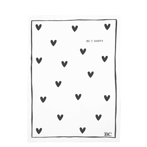 Theedoek   Hearts 'Be Happy'   Wit/Zwart   Bastion Collections