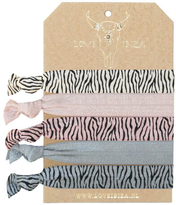 Ibiza Elastiekjes   Set 5   Zebra   Love Ibiza