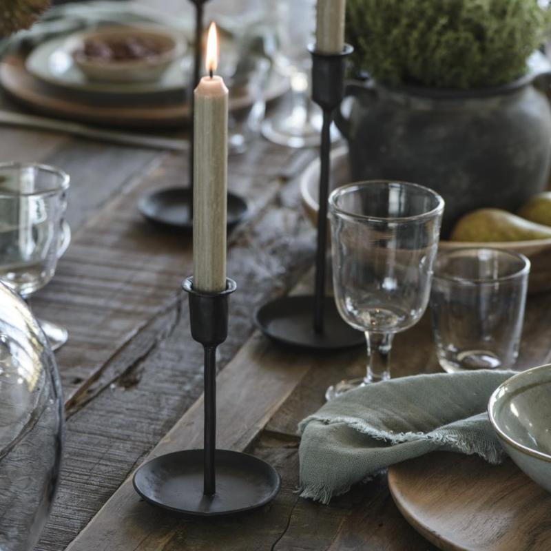 Kandelaar Zwart   Small 16,5 cm   voor Dinerkaars Ø:2,2   Handmade   IB Laursen
