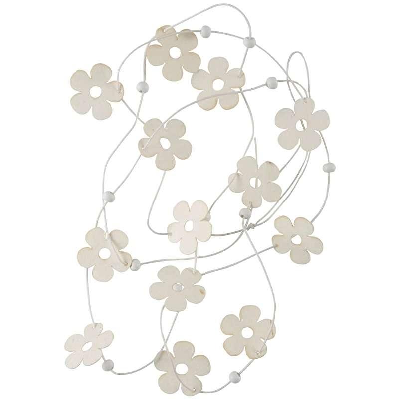 Decoratiekoord met Papieren Bloemen en Kralen Wit