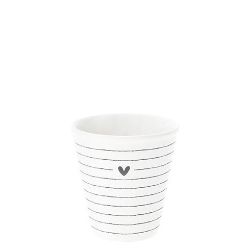 Espresso Mok | Stripe & Heart | Wit/Zwart | Bastion Collections