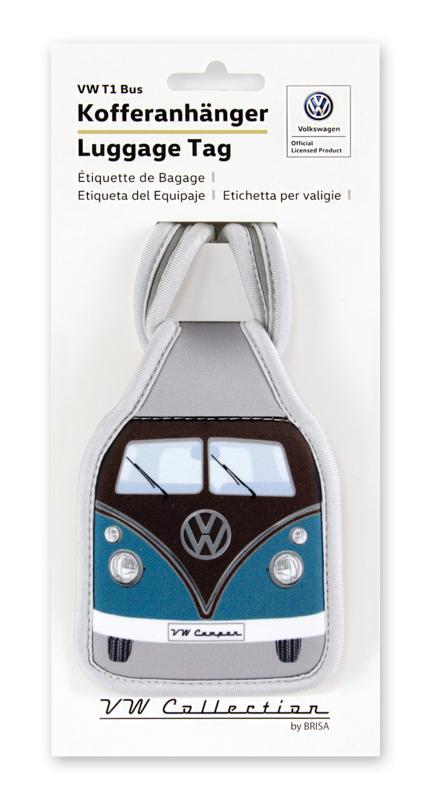 VW T1 Bus   Bagage Label   Petrol/Brown