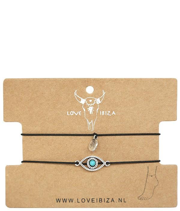 Enkelbandjes Set 2 | Turquoise Eye | Love Ibiza