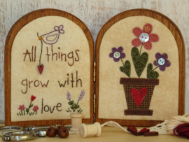 Tweeluikje 'All things grow with love' materialenpakketje + patroon