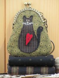 Patroon + materialen Portemonneetje 'Kat' groen