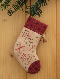 Patroon + materialenpakketje kerstsok 'Merry X-mas'
