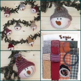 Materialenpakket + patroon stoffen kerstslinger `Snowmen`
