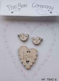 Love Heart and Birds Cream - TB4CE