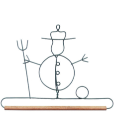 Quilthanger met sneeuwman en bezem 19 cm