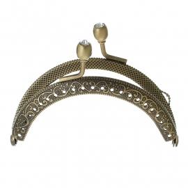 Tasbeugel brons met strass-sluiting 8,6 cm x 5,9 cm