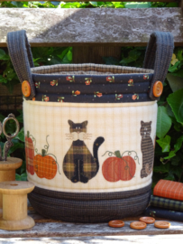 Patroon + materialenpakket tasje 'Katten en pompoenen'